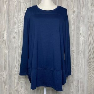 Terra & Sky navy blue mixed media active tunic top